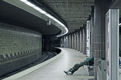 Subway station. Person in a lonely subway station in Hamburg Stock Photo