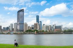 Person looking at the Brisbane city skyline royalty free stock images