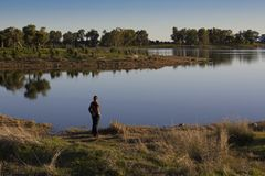 Person looking out over a tranquil lake. Lone person standing facing away from the camera looking out over a tranquil lake with reflections in early morning Royalty Free Stock Photography