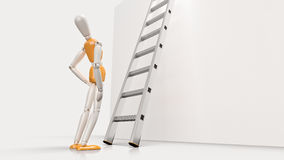 Person looking up a ladder Stock Image