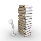 Person with a lot of paperwork. 3d person looking up at a big pile of folders Royalty Free Stock Image