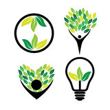 Person loving trees, eco idea, green energy - eco concept vector. Icon set. This also represents nature conservation, green technology, sustainable development Royalty Free Stock Photos