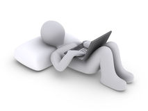 Person lying down with laptop. 3d person lying on pillow holding a laptop Stock Images