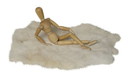 Person Lying Prone on Rabbit Fur. Path included Royalty Free Stock Image