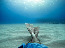 Person Lying Underwater Royalty Free Stock Images