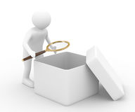 Person with magnifier investigates empty box. Isolated 3D image Stock Photos