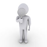 Person with magnifying glass. 3d person looking through magnifier Royalty Free Stock Image