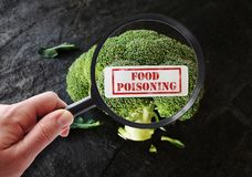 Food poisoning label. Person with magnifying glass examining broccoli with Food Poisoning label Stock Image