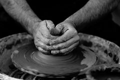 Person Making Clay Pot Stock Image