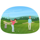A person making a shot playing the golf while his friend waiting. royalty free illustration