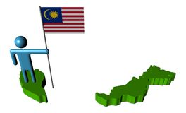 Person with Malaysian flag on map Stock Photos
