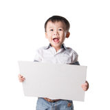 Person male isolated peeking open looking white boy gift peek unsure christmas opening expression look child background present ch. Smiled boy with blank sheet Stock Photography
