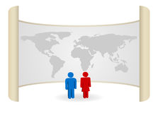 Person. Man and woman person icon with map Royalty Free Stock Image