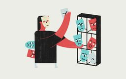 Person managing their own emotions. Conceptual colorful illustration. stock illustration