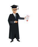 Person in Mantle Gown and Academic Square Cap. On white background. Student graduated from university. Magister. Highschool level of education. Part of series Royalty Free Stock Image