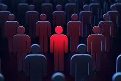 A person marked red between other people as a concept of danger. 3D rendering. A person marked red between other people as a concept of being in danger. 3D stock photography