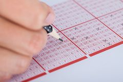 Person marking number on lottery ticket Royalty Free Stock Image