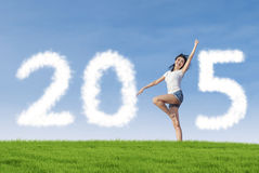 Person on meadow forming number 2015 Stock Image