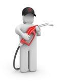 Person med bensinpumpen Fotografering för Bildbyråer
