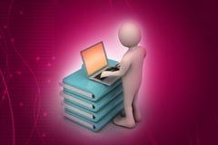 Person med en bärbar dator på mappmappar Fotografering för Bildbyråer
