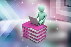 Person med en bärbar dator på mappmappar Royaltyfria Bilder