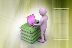 Person med en bärbar dator på mappmappar Arkivbilder