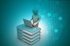 Person med en bärbar dator på mappmappar Royaltyfri Foto