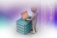 Person med en bärbar dator på mappmappar Royaltyfri Bild