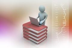 Person med en bärbar dator på mappmappar Arkivbild
