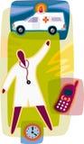 Person med paramedicinsk utbildning; ambulans; klocka Vektor Illustrationer