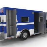 Person med paramedicinsk utbildning Blue Van med öppnade dörrar på vit illustration 3d Arkivfoton