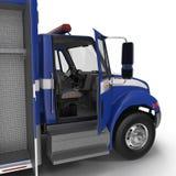 Person med paramedicinsk utbildning Blue Van med öppnade dörrar på vit illustration 3d Royaltyfri Fotografi