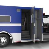Person med paramedicinsk utbildning Blue Van med öppnade dörrar på vit illustration 3d Royaltyfria Foton