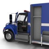 Person med paramedicinsk utbildning Blue Van med öppnade dörrar som isoleras på vit illustration 3d Royaltyfria Bilder