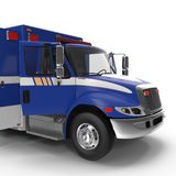 Person med paramedicinsk utbildning Blue Van med öppnade dörrar som isoleras på vit illustration 3d Royaltyfria Foton