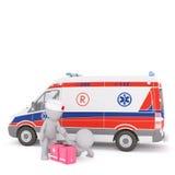 person med paramedicinsk utbildning som 3d behandlar en patient nära en ambulans Royaltyfri Foto