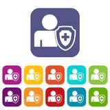 Person and medical cross protection shield icons set. Vector illustration in flat style in colors red, blue, green, and other stock illustration