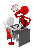 Person with megaphone icon coming out of laptop. Screen. Isolated vector illustration