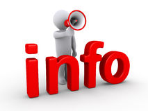 Person mit Megaphon hinter Info Stockfoto