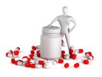 Person mit Pillen und Flasche Stockfotografie