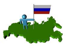 Person mit russischer Markierungsfahne auf Karte Stockbild