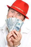 The person and money. The person very much loves money. Very much Royalty Free Stock Photos