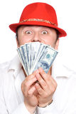 The person and money. The person very much loves money. Very much Royalty Free Stock Images
