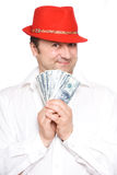 The person and money. The person very much loves money. Very much Royalty Free Stock Image