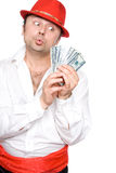 The person and money. The person very much loves money. Very much Stock Photo