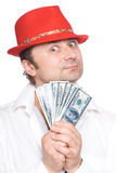 The person and money. The person very much loves money. Very much Stock Photos