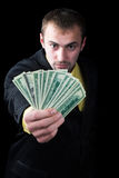 The person and money. The person has won the big money Stock Images