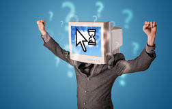 Person with a monitor head and cloud based technology on the scr Stock Images