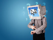 Person with a monitor head and cloud based technology on the scr Royalty Free Stock Image