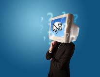 Person with a monitor head and cloud based technology on the scr Stock Photos